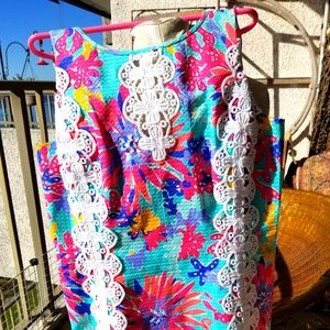 Nwot LILLY PULITZER shift dress LACE TRIM 8